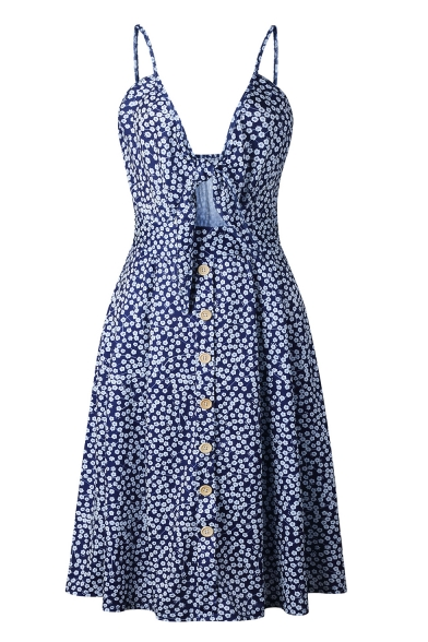 Womens Summer Stylish Floral Printed Sexy Hollow Out Front Button-Down Midi A-Line Slip Dress