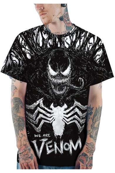 Black 3D Pattern Casual Loose Short Sleeve T-Shirt