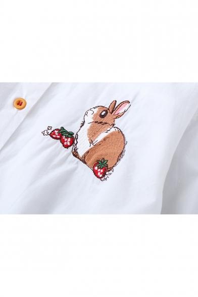 Cute Cartoon Rabbit Strawberry Embroidered Basic Long Sleeve Button Down Shirt