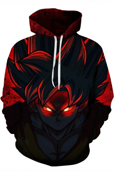 Dragon Ball Cool 3D Comic Character Print Long Sleeve Pullover Red Hoodie