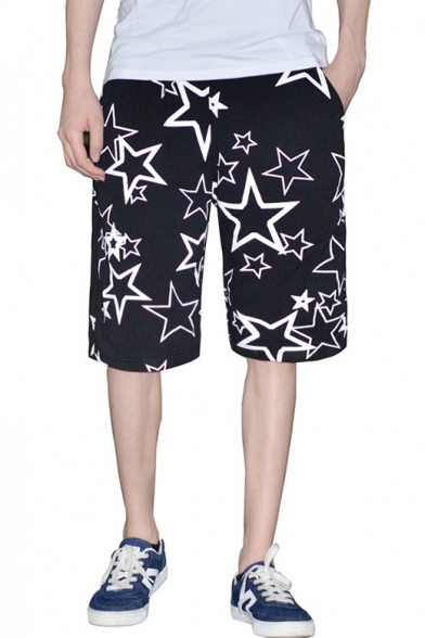 Fashion Five-Point Star Printed Mens Casual Loose Sport Relaxed Active Black Shorts