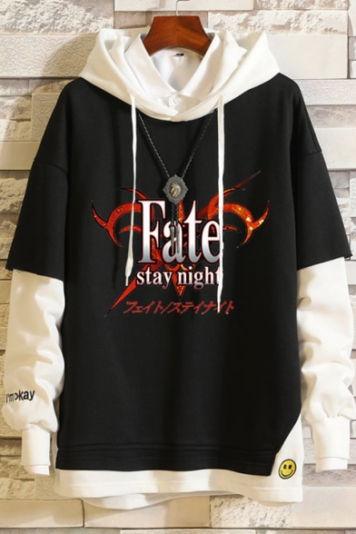 Fate Popular Game Comic Printed Patched Long Sleeve Casual Relaxed Pullover Hoodie