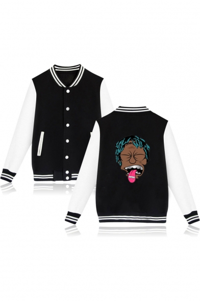 Funny Portrait Printed Stand Collar Button Down Baseball Jacket
