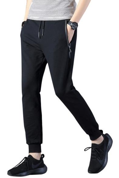 Mens Basic Simple Plain Comfort Cotton Zip-Pocket Fitted Casual Sweatpants