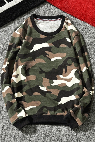 Mens New Stylish Camo Printed Round Neck Long Sleeve Loose Fit Pullover Sweatshirt