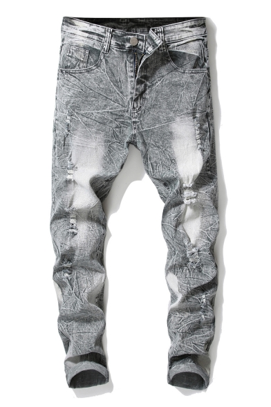 Mens Retro Bleach Washed Distressed Straight Light Grey Ripped Jeans