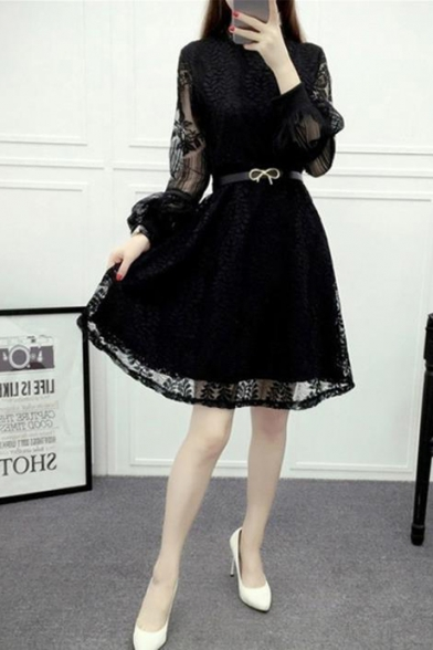 New Stylish Lantern Sleeve Mini A-Line Flared Lace Dress with Belt