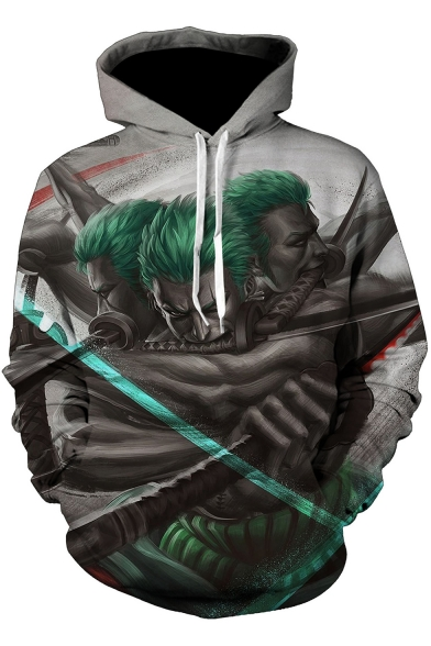 One Piece Cool 3D Comic Figure Pattern Long Sleeve Pullover Sport Casual Grey Hoodie