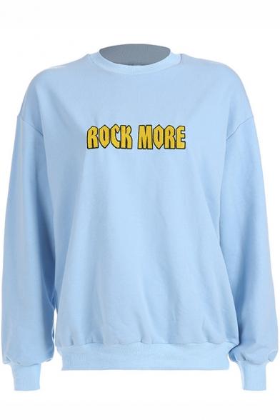 ROCK MORE Simple Letter Printed Mock Neck Long Sleeve Light Blue Sweatshirt