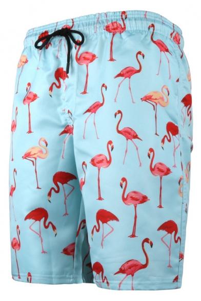 Summer New Stylish Flamingo Printed Drawstring Waist Beach Swim Shorts for Guys