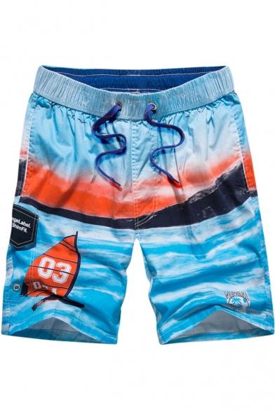 Summer Stylish Wave Printed Drawstring Waist Quick-Dry Casual Loose Swim Shorts