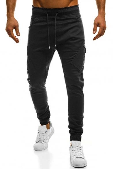 Basic Solid Color Drawstring Waist Fashion Flap Pocket Side Skinny Fit Pencil Pants for Men