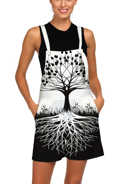 Cool 3D Tree Floral Printed Womens Loose Casual Overalls Rompers