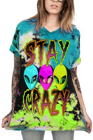Cool Fashion Alien Printed Tie Dye Short Sleeve Loose Longline T-Shirt