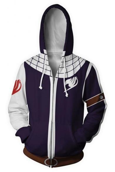 Fairy Tail 3D Print Comic Cosplay Costume Long Sleeve Purple Zip Up Hoodie