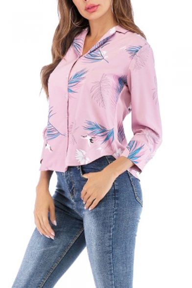 Fashion Feather Crane Printed Pink Notched Lapel Collar Long Sleeve Casual Button Shirt