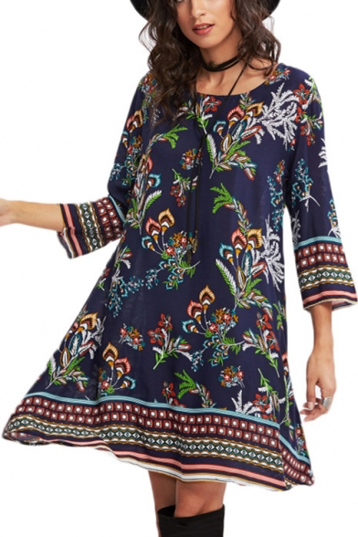 Fashionable Floral Printed Half Sleeve Round Neck Midi A-Line Dress
