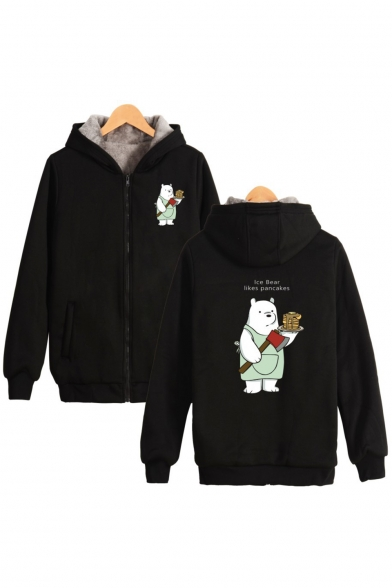 Letter ICE BEAR Comic Bear Pattern Warm Thick Long Sleeve Zip Up Hoodie