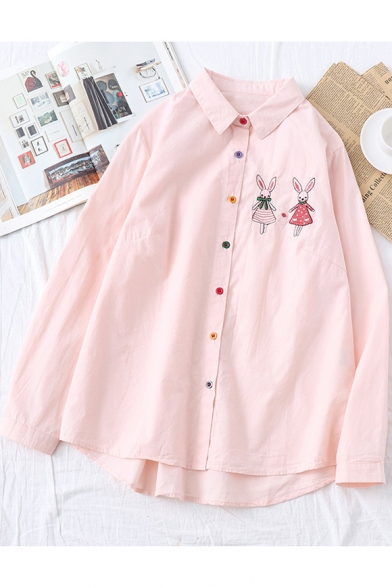 Lovely Cartoon Rabbit Embroidered Long Sleeve Loose Casual Button Down Shirt