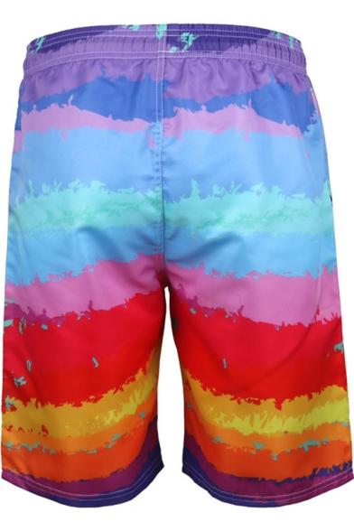 Men's New Stylish Drawstring Waist Tropical Coconut Printed Loose Swim Trunks