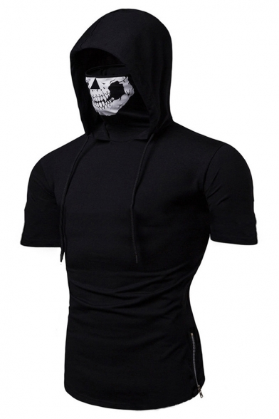 Call of Duty Men's New Stylish Zip Side Plain Short Sleeve Fitness Skull Mask Hooded T-Shirt