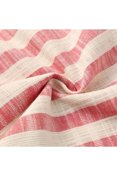 Men's Summer Stylish Stripe Printed Drawstring Waist Cotton Loose Beach Shorts