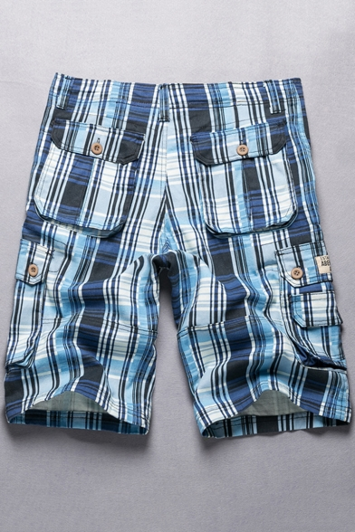Men's Trendy Check Pattern Button Pocket Cotton Loose Casual Cargo Shorts