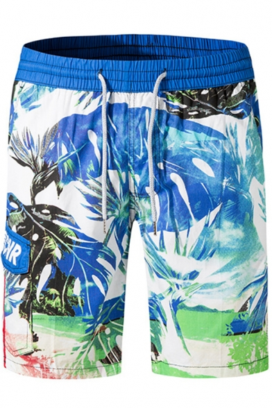 Mens Summer Fashion Printed Drawstring Waist Breathable Casual Blue Beach Swim Trunks