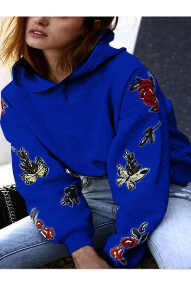 New Fashion Butterfly Floral Print Long Sleeve Hoodie
