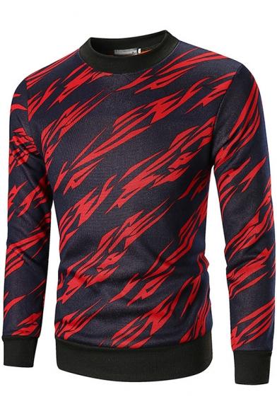 New Trendy Mens Fashion Allover Lightning Print Crewneck Long Sleeve Fitted Sweatshirt