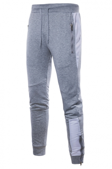 New Trendy Patched Side Zip Embellished Drawstring Waist Cotton Skinny Sweatpants