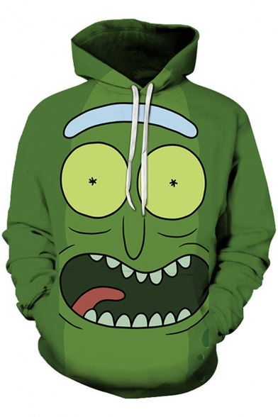 Rick and Morty Funny 3D Pattern Pullover Long Sleeve Loose Fit Green Hoodie