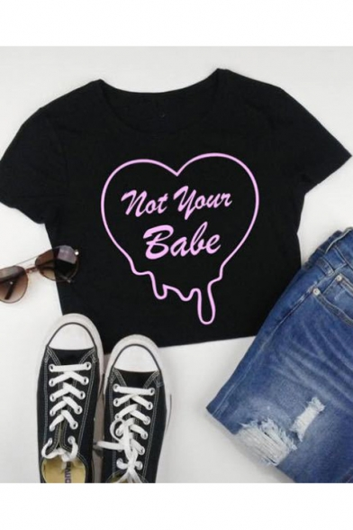 Sexy Black Letter NOT YOUR BABE Heart Print Cropped T-Shirt for Women