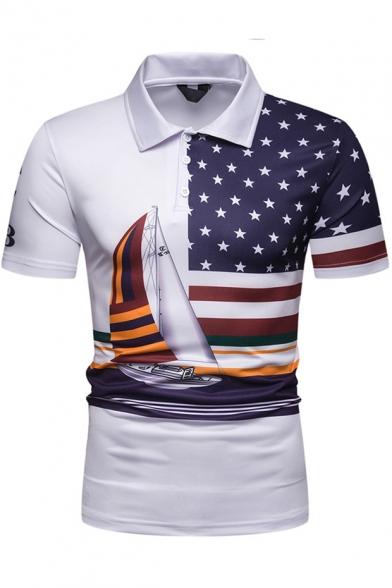 Star Flag Sailing Boat Printed Basic Short Sleeve Slim White Polo for Men