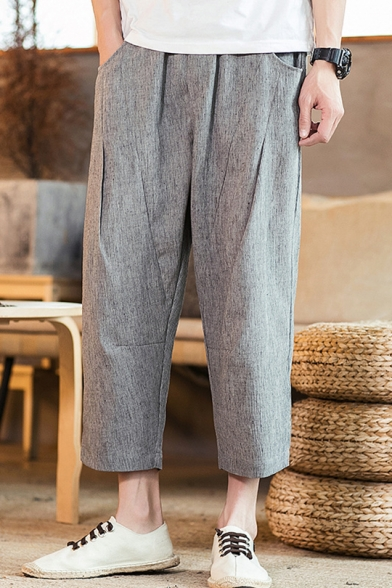 Summer New Trendy Basic Plain Casual Loose Linen Straight-Leg Cropped Pants for Men