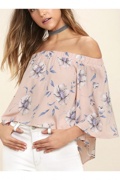 Summer's Fashion Floral Pattern Off The Shoulder 3/4 Sleeve Pullover Blouse