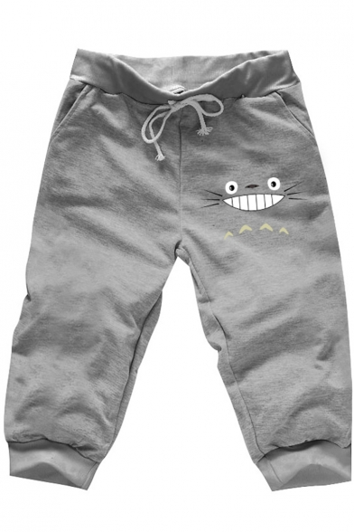 Totoro Comic Printed Summer Unisex Casual Loose Beach Cotton Cropped Sweatpants