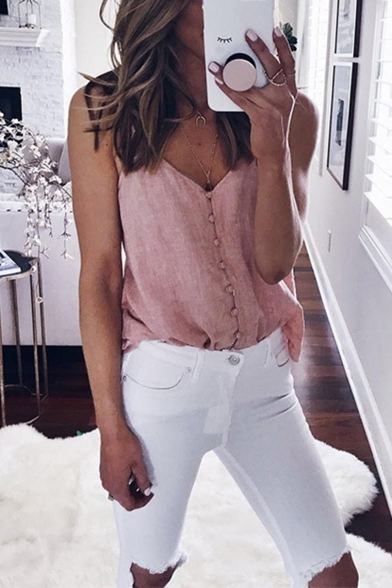 Unique Button Down V-Neck Solid Color Casual Loose Pink Cami Top for Women