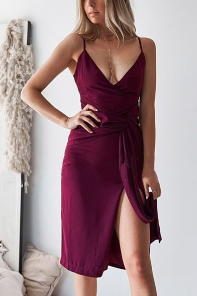 Women's Maroon Sexy Plunge Neck Knotted Waist Simple Plain Midi Slip Dress