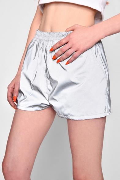 Women's Summer New Fashion Elastic Waist Solid Color Luminous Grey Track Shorts