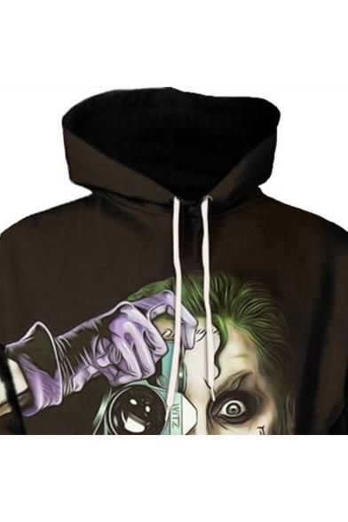 Cool Camera Clown 3D Printing Long Sleeve Sport Casual Loose Drawstring Hoodie