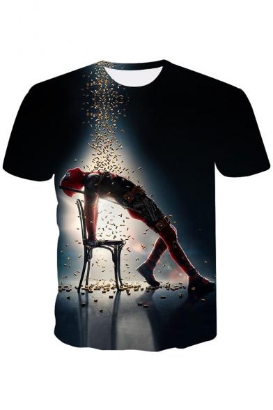 Deadpool New Trendy Fashion 3D Figure Print Mens Short Sleeve Basic T-Shirt
