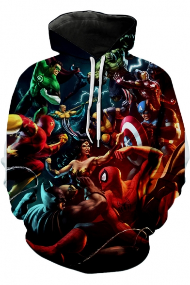 Funny 3D Comic Figure Pattern Regular-Fit Red Casual Hoodie