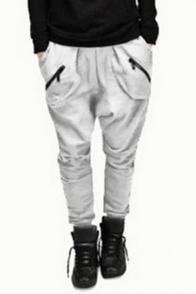 Mens Cool Unique Zip-Embellished Pocket Simple Plain Cotton Harem Pants Sweatpants
