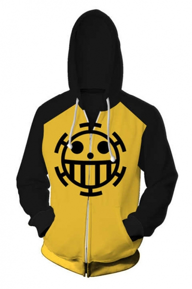 One Piece Fashion Colorblocked Cosplay Costume Long Sleeve Zip Front Yellow Hoodie