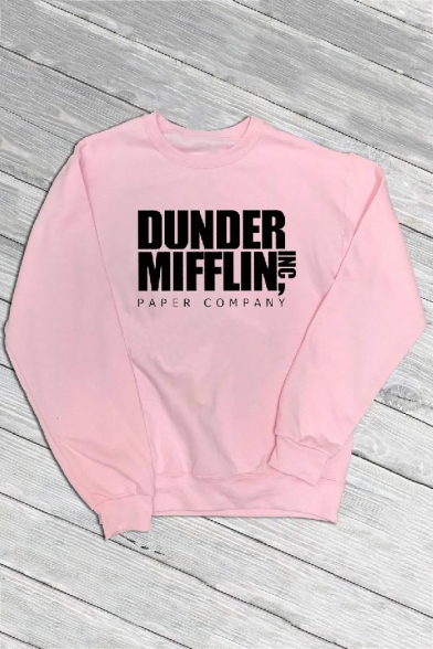 Round Neck Long Sleeve Letter DUNDER MIFFLIN Printed Casual Sweatshirt