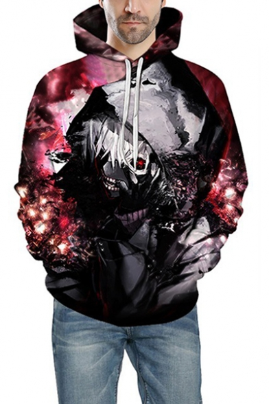 Tokyo Ghoul Fashion 3D Printing Long Sleeve Sport Loose Pullover Red Hoodie