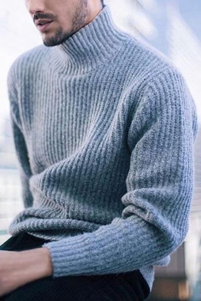 Приталенный вязать высокие зимние шею длинным рукавом основные твердые мужской свитер
