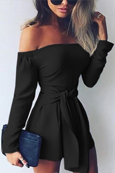 Women's Sexy Off the Shoulder Long Sleeve Tied Waist Solid Slim Rompers