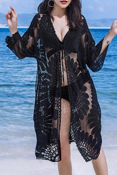 Women's Summer New Fashion Holiday Lace Mesh Longline Sun Cardigan